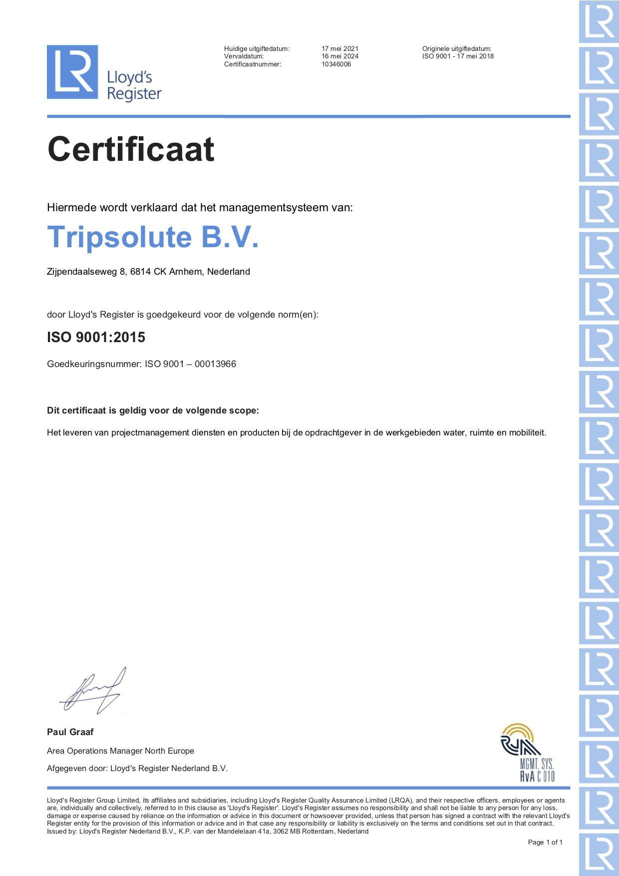 ISO 9001:2015 Certificaat Tripsolute